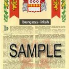 BURGESS - IRISH - Coat of Arms - Family Crest - Armorial GIFT! 8.5x11