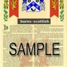 BURNS - SCOTTISH - Coat of Arms - Family Crest - Armorial GIFT! 8.5x11