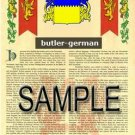 BUTLER - GERMAN - Coat of Arms - Family Crest - Armorial GIFT! 8.5x11