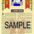 CAHILL - IRISH - Coat of Arms - Family Crest - Armorial GIFT! 8.5x11
