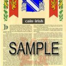 CAIN - IRISH - Coat of Arms - Family Crest - Armorial GIFT! 8.5x11