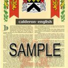 CALDERON - ENGLISH - Coat of Arms - Family Crest - Armorial GIFT! 8.5x11