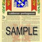 CALDERON - PORTUGUESE - Coat of Arms - Family Crest - Armorial GIFT! 8.5x11
