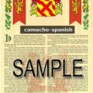CAMACHO - SPANISH - Coat of Arms - Family Crest - Armorial GIFT! 8.5x11