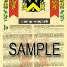 CAMP - ENGLISH - Coat of Arms - Family Crest - Armorial GIFT! 8.5x11