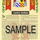 CANTU - ITALIAN - Coat of Arms - Family Crest - Armorial GIFT! 8.5x11