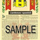 CARDENAS - SPANISH - Coat of Arms - Family Crest - Armorial GIFT! 8.5x11