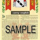 CAREY - ENGLISH - Coat of Arms - Family Crest - Armorial GIFT! 8.5x11