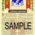 CARLSON - GERMAN - Coat of Arms - Family Crest - Armorial GIFT! 8.5x11