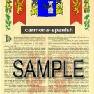 CARMONA - SPANISH - Coat of Arms - Family Crest - Armorial GIFT! 8.5x11