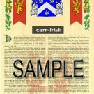 CARR - IRISH - Coat of Arms - Family Crest - Armorial GIFT! 8.5x11