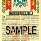 CARTER - ENGLISH - ALT - Coat of Arms - Family Crest - Armorial GIFT! 8.5x11