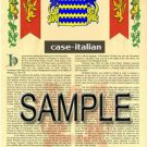 CASE - ITALIAN - Coat of Arms - Family Crest - Armorial GIFT! 8.5x11