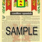 CASILLAS - SPANISH - Coat of Arms - Family Crest - Armorial GIFT! 8.5x11