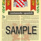 CASTANEDA - SPANISH - Coat of Arms - Family Crest - Armorial GIFT! 8.5x11