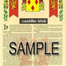 CASTILLO - IRISH - Coat of Arms - Family Crest - Armorial GIFT! 8.5x11