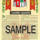 CASTILLO - SPANISH - Coat of Arms - Family Crest - Armorial GIFT! 8.5x11