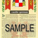 CASTLE - GERMAN - Coat of Arms - Family Crest - Armorial GIFT! 8.5x11