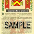 CHAMBERLAIN - ENGLISH - Coat of Arms - Family Crest - Armorial GIFT! 8.5x11