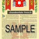 CHAMBERLAIN - FRENCH - Coat of Arms - Family Crest - Armorial GIFT! 8.5x11