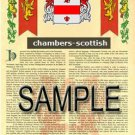 CHAMBERS - SCOTTISH - Coat of Arms - Family Crest - Armorial GIFT! 8.5x11