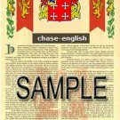 CHASE - ENGLISH - Coat of Arms - Family Crest - Armorial GIFT! 8.5x11