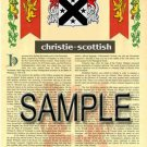 CHRISTIE - SCOTTISH - Coat of Arms - Family Crest - Armorial GIFT! 8.5x11