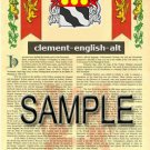 CLEMENT - ENGLISH - ALT - Coat of Arms - Family Crest - Armorial GIFT! 8.5x11