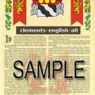 CLEMENTS - ENGLISH - ALT - Coat of Arms - Family Crest - Armorial GIFT! 8.5x11
