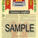 CLEMONS - ENGLISH - Coat of Arms - Family Crest - Armorial GIFT! 8.5x11