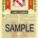 COKER - ENGLISH - Coat of Arms - Family Crest - Armorial GIFT! 8.5x11