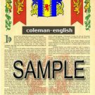 COLEMAN - ENGLISH - Coat of Arms - Family Crest - Armorial GIFT! 8.5x11