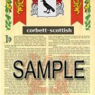 CORBETT - SCOTTISH - Coat of Arms - Family Crest - Armorial GIFT! 8.5x11