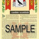 CORBIN - SCOTTISH - Coat of Arms - Family Crest - Armorial GIFT! 8.5x11