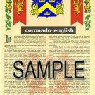 CORONADO - ENGLISH - Coat of Arms - Family Crest - Armorial GIFT! 8.5x11