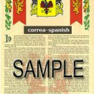 CORREA - SPANISH - Coat of Arms - Family Crest - Armorial GIFT! 8.5x11