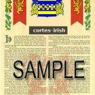 CORTES - IRISH - Coat of Arms - Family Crest - Armorial GIFT! 8.5x11