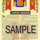CORTES - SPANISH - Coat of Arms - Family Crest - Armorial GIFT! 8.5x11