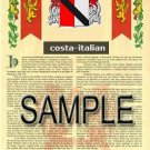 COSTA - ITALIAN - Coat of Arms - Family Crest - Armorial GIFT! 8.5x11