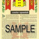 COSTA - SPANISH - Coat of Arms - Family Crest - Armorial GIFT! 8.5x11