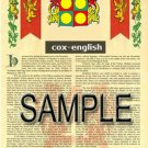 COX - ENGLISH - Coat of Arms - Family Crest - Armorial GIFT! 8.5x11
