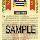 COX - IRISH - Coat of Arms - Family Crest - Armorial GIFT! 8.5x11