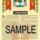 CROW - IRISH - Coat of Arms - Family Crest - Armorial GIFT! 8.5x11