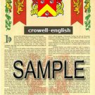 CROWELL - ENGLISH - Coat of Arms - Family Crest - Armorial GIFT! 8.5x11