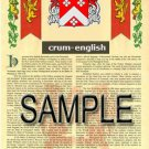 CRUM - ENGLISH - Coat of Arms - Family Crest - Armorial GIFT! 8.5x11
