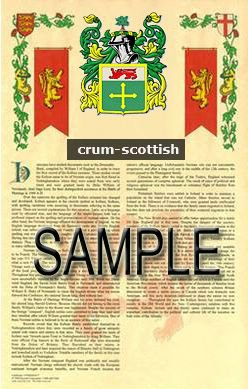 CRUM - SCOTTISH - Coat of Arms - Family Crest - Armorial GIFT! 8.5x11