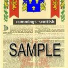 CUMMINGS - SCOTTISH - Coat of Arms - Family Crest - Armorial GIFT! 8.5x11