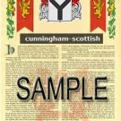 CUNNINGHAM - SCOTTISH - Coat of Arms - Family Crest - Armorial GIFT! 8.5x11