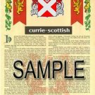 CURRIE - SCOTTISH - Coat of Arms - Family Crest - Armorial GIFT! 8.5x11