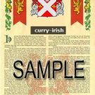 CURRY - IRISH - Coat of Arms - Family Crest - Armorial GIFT! 8.5x11